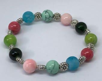Natural Stone and Flower Bracelet