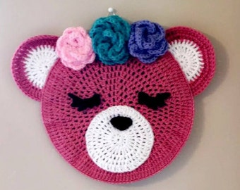 Pink floral bear wall decor