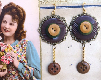 button dangle earrings, antic button earring, recycled button jewelry, repurposed jewelry, upcycled button, cute earrings, vintage sewing