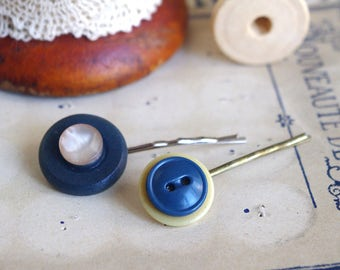 girl hair, blue buttons, button pins, blue hair clip, blue hair pin, blue hair accessories, vintage hair clips, vintage hair pins