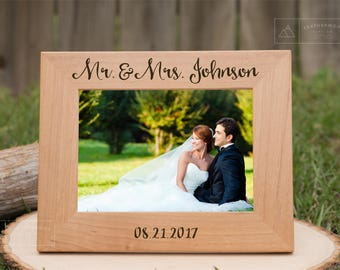 Personalized Picture Frame, Personalized Wedding Gift, Newlyweds Gift, Mother in Law Gift, Wooden Wedding Frame,  Engraved Wood Frame