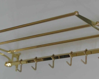 Wall coat rack Art Nouveau brass