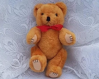 Vintage Teddy Bear he stands at 7.5 Inches with Movable Arms and Legs Soft Toy Sporting a Red Satin Bow with a lovely smile, Tan in Colour