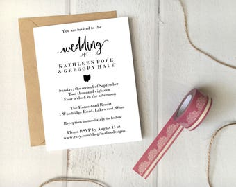 Ohio Wedding Invitation Printable Template 5x7 Card / Instant Download / Destination Wedding State Icon Print At Home Invite  DIY