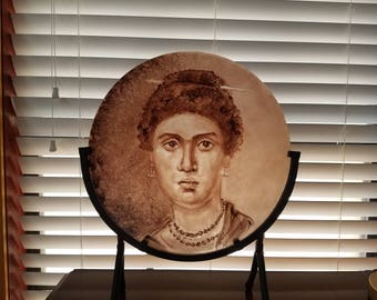 Painted Glass - Face from Fayum Mummy casket (100 BC to 200AD)