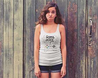 Game Over Tank Geek Tank Top Unique Design Gamer Girl Tank Top Witty Novelty
