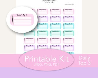 Printable Planner Stickers | Functional Daily Top 3 | Erin Condren Planner | PDF JPEG Trace Files | Planner Printable | Stickers Printable