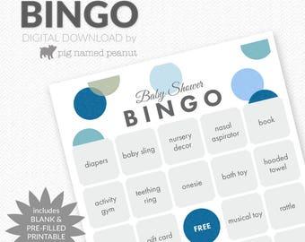 Baby Shower BINGO, 40 Pre-Filled Bingo Cards + Blank Bingo Cards, Blue Polka Dots, Baby Boy, Polka Dot Baby Shower Games – Instant Download
