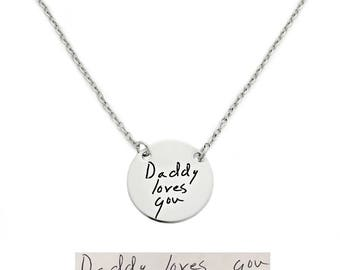 Personalized Signature Jewelry - Round Actual Handwriting Necklace - Personalized Jewelry - Memorial Keepsake - Handwritten Jewelry - 1304