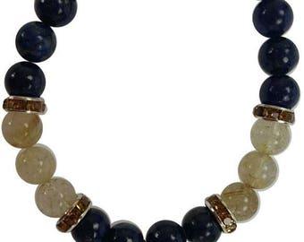8mm Lapis Lazuli and Rutilated Quartz Stretch Bracelet with Ganesha Charm