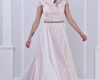 Ivory, white wedding dress, with belt and beautiful back