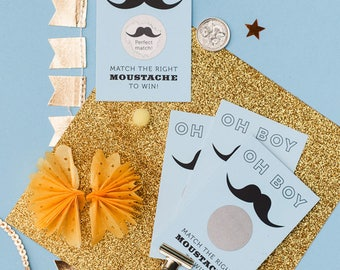 24 Oh Boy Moustache Scratch Cards - Baby Shower Game - Mustache