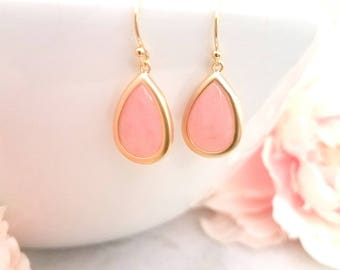 Coral Pink Earring - Blush Pink Gold Bridesmaid Earrings - Pink - Bridesmaid Jewelry - Gold,  White Gold, Bridesmaid Gift