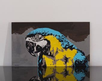 Blue, Popart, acrylic on wood panel, picture, Parrot