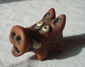 Ceramic pig Minature sculpture Ceramic toy Home decoration Art ceramics Ceramic hog Tiny hog Animals for dollhouse Cute pig