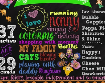Bubble Guppies Chalkboard Birthday Poster