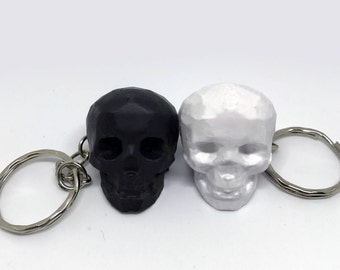 Low Poly Skull Keychain 3D Printed