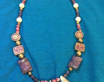 Hand Made Healing Necklace  with natural crystal beads