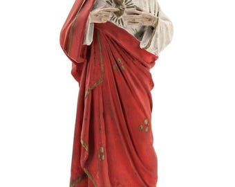 "Imposing 14"" Large French Antique Plaster Statue of Sacred Heart of Jesus Our Lord Christ Figurine Religious Figure 1"