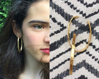 Hoops brass, gold plated. Ottone placati gold. Earrings-goldplated brass.
