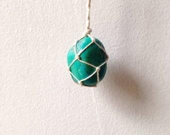 Turquoise Hemp Macrame Necklace