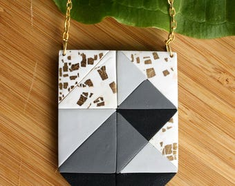 Geometric Pendant Necklace~ Handmade Jewellery~ Minimalist Jewellery~ Geometric Pattern~ Gold Leaf Jewellery~Black White Pendant