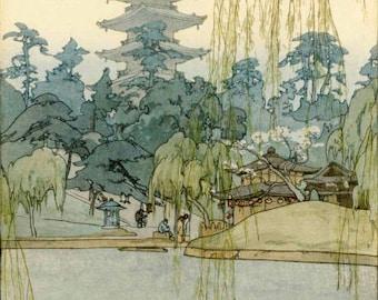 "Japanese Art Print ""Sarusawa Pond (Sarusawa ike)"" by Yoshida Hiroshi, woodblock print reproduction, asian art, cultural art, willow trees"