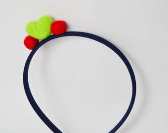 cool and colorful headband with felted heart, cute headbands, green heart greenish