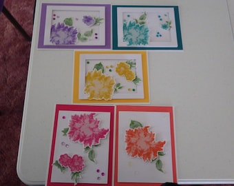 Colorful Floral Card Set, Blank Cards,  Flowers