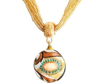 Murano Glass Pendant Necklace by I Love Murano 'Supernova', Murano Glass, Murano Glass Necklace, Murano Glass Jewelry, Ethnic Necklace,
