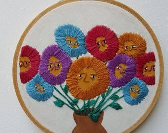 Hand Embroidered Mixed Media Flower Faces Hoop 5''