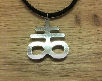Leviathan cross aluminium pendant
