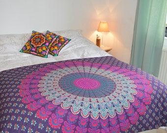 Single Mandala Patterned Throw/Wall Hanging in Purple & Magenta