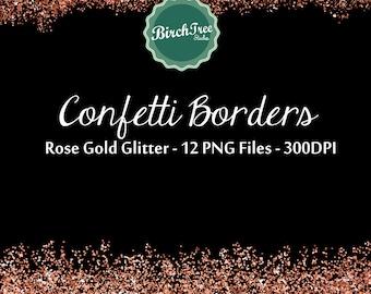 Digital Glitter Borders - Confetti Glitter Rose Gold Metallic Clipart - Invitation - Scrapbooking - Christmas Decoration - Paper -  Border
