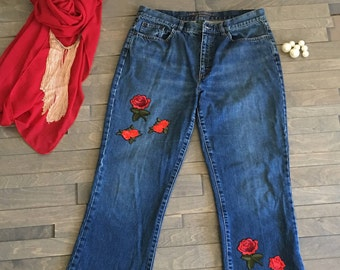 Embroidered Roses Jean Denim