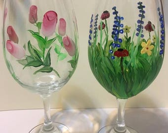Hand Painted Beverage Glasses