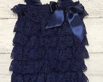 Navy Blue Pearl Headband & Navy Blue Lace Vintage Petti Romper Photo Prop Set Cake Smash Picture Outfit