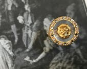 Regal 22K Gold Plated Lion Head Medallion Ring with Pearls and Crystals Adjustable