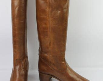 VINTAGE boots Leather Brown TILL T 40