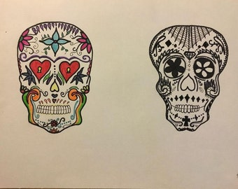 Black/White and Colored Skull