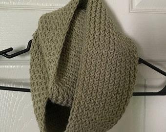 Handmade Tan Knit Infinity Scarf