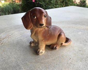 Adorable Vintage Dachshund Ceramic Figurine, Miniature Dog Figure, Glass Collectibles, Animals