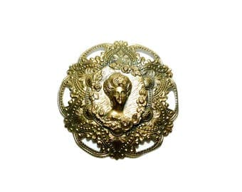 Vintage Antique Gold Tone Victorian Style Round Cameo Brooch