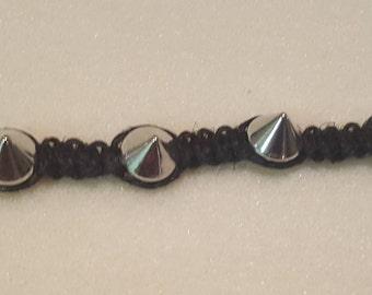 Black and silver spike bracelet