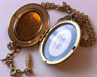 TO ORDER. Forget-me-nots, mini watercolor inside vintage locket.