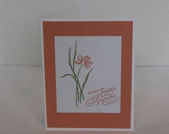Carte Sympathie, Sympathy Card, Pastel Color Card, Floral Card, Birthday Card, Thank You Card, Celebration Card