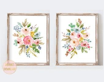 Floral Watercolor Wall Art, Watercolor Flower Prints, Girls Nursery Art, Floral Nursery Art, Printable Nursery Art