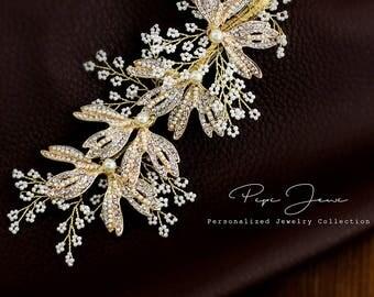 Bridal Hair Comb Crystal Leaves Wedding Hair Accessories Bridal Hair Accessory Crystal Bridal Comb Floral Comb Bridal Bling Bridal Hair Clip