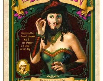 """Vintage Bearded Lady Sideshow Poster 5""""x7"""""""