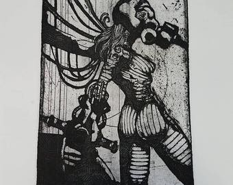 Gasmask Woman etching